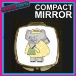 YELLOW ELEPHANT COMPACT LADIES METAL HANDBAG GIFT MIRROR